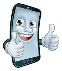 A mobile phone cartoon character mascot giving a double thumbs up. © Christos Georghiou