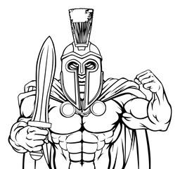 A Spartan or Trojan warrior cartoon sports mascot © Christos Georghiou