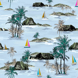 Beautiful seamless island pattern. Summer trends bright seamless colorful island pattern on light blue background. Landscape with palm trees, beach, sailing ship and ocean brush hand drawn style. - 243641267