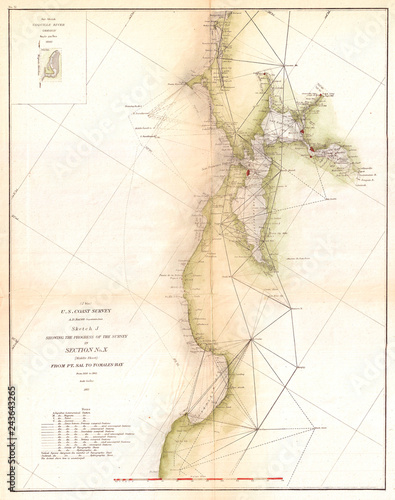 1865 Us Coast Survey Triangulation Map Of San Francisco Bay Buy - Map-of-us-in-1865