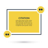 Quote box, speech bubble, text in brackets, citation template isolated on white background. Vector illustration.