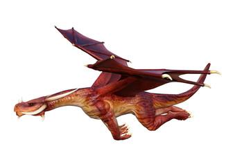 3D Rendering Fairy Tale Dragon on White © photosvac