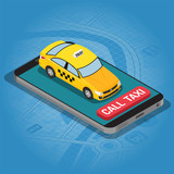 Online Taxi Isometric Concept - 243646825