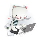 Illustration of a graphic designer using his computer