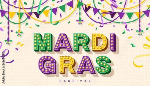Mardi Gras retro typography design