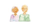 水彩 手描き シニア 男性 女性(重なりB) - 243654664