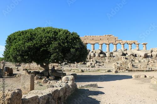 Resto archeologico nella valle dei templi in Sicilia, Italia