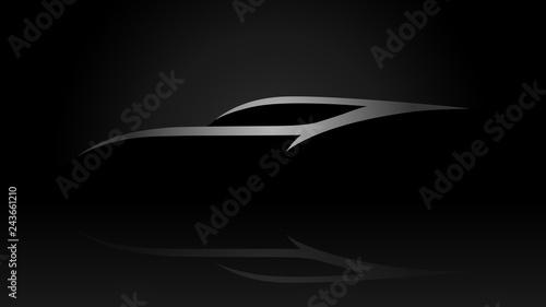 Sleek sportscar vehicle silhouette logo on black background. Vector illustration. - 243661210