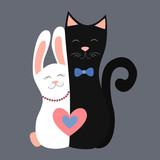 Love Cat&Bunny Vector illustration
