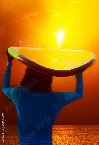 Leinwandbild Motiv Sun Sunburst surf on the beach