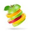 Leinwandbild Motiv Fresh fruits. Stack of apple and orange slices on white