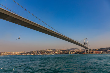 The grand bridge of Sultan Mehmed Fatih through the Bosphorus, Turkey © Alex