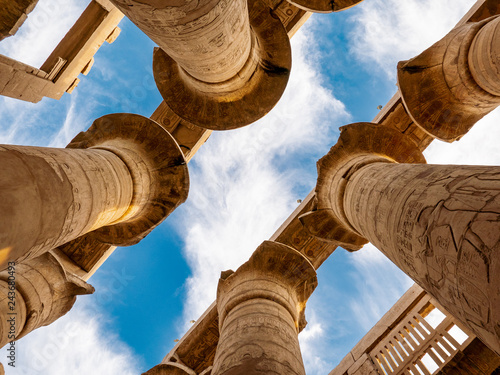 Great Hypostyle Hall with clouds at the Temples of Karnak (Luxor / Thebes)