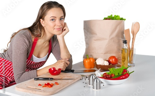 Poster Portrait of a Woman Cooking Vegetables