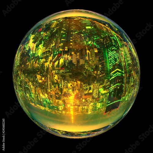 obraz PCV 東京都市風景を球体にマッピングしたCG