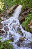 Waterfall and clear river in a mountain stream in a green rocky forest. vertical image
