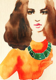 beautiful woman. fashion illustration. watercolor painting - 243683869