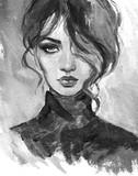 beautiful woman. fashion illustration. watercolor painting - 243684408