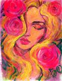 beautiful woman. fashion illustration. watercolor painting - 243684476