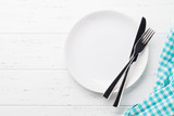 Empty plate with cutlery - 243685238