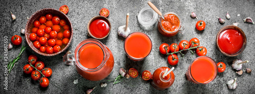 Tomato juice, pickled tomatoes and sauce. © Artem Shadrin
