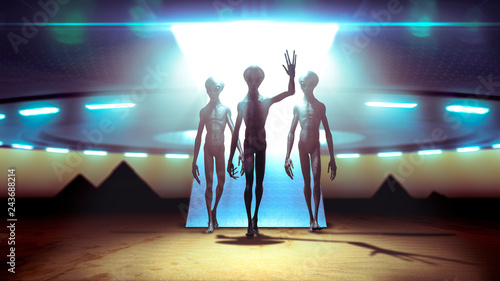 Aliens landing with ufo on earth coming in peace near pyramids - 3D rendering © danielegay