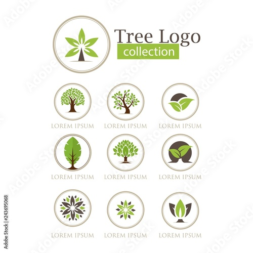 set of tree logo collection