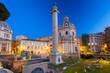 Quadro Triumphal Trajan Column in Rome at night, Italy