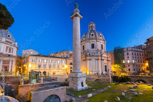 Triumphal Trajan Column in Rome at night, Italy