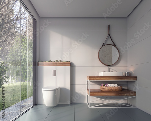 Modern bathroom design with look on green foliage backyard 3D Rendering