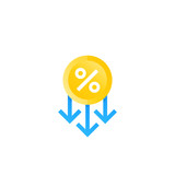 percent down, cost reduction icon - 243699237