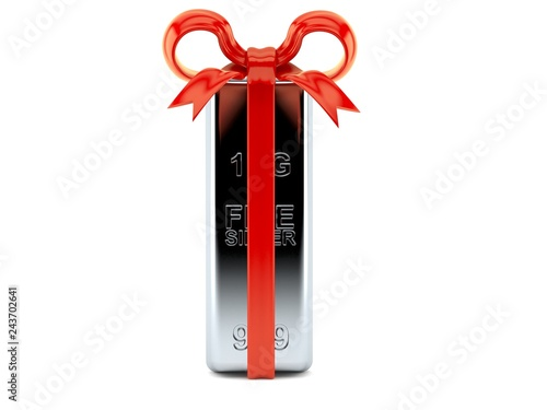 Silver ingot with red ribbon