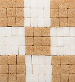 White and brown sugar cubes creative background - 243704429