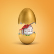 3d rendering of white private house hatching out of golden egg on yellow background