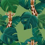Exotic summer print. Seamless pattern with palm tree, giraffe. Vector illustration - 243704886