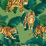 Exotic seamless pattern. Tropical leaves and tiger. Vector illustration - 243704892