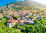 small resort village in Greece in the rays of the morning sun