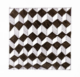 black and white chequered ornament from cubes - 243709452