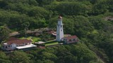 Oahu, Hawaii circa-2018.  Aerial shot of Diamond Head Lighthouse.  Shot with Cineflex and RED Epic-W Helium.  - 243710279