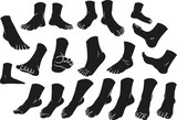 Cartoon black silhouette man or woman foots gesture set. Different foot positions. Vector icons. - 243711402