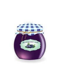 Blueberry  jam jar. vector illustration © marijaobradovic