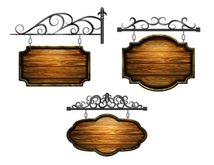hanging, wooden Board vector, wooden object for text. © bastinda18