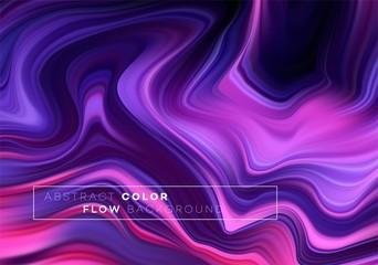 Modern colorful flow poster. Wave Liquid shape in black color background. Art design for your design project. Vector illustration