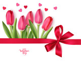 Happy Valentine's Day design template. Bouquet of red tulips with red bow and heart confetti isolated on white background. Vector illustration