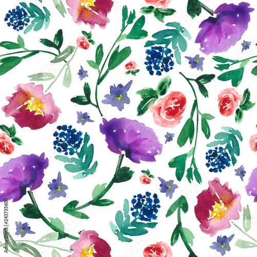 All over floral watercolor pattern. Seamless hand-painted botanical background. © Anya D