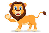 Wild lion smiling and waving his paw on a white. Cartoon character - 243736455