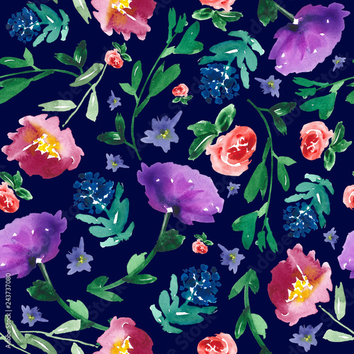 All over hand-painted floral pattern. Watercolor botanicals on dark navy blue background. © Anya D