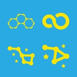 infinity icons set with infinite symbol, hexagonal molecule and constellation vector set - 243738410