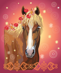 Horse portrait with flowers17 © alinart