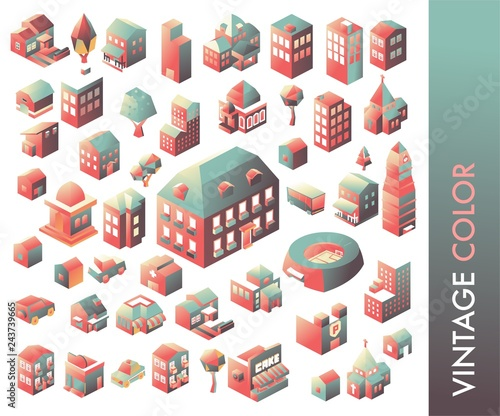 Colourful Isometric building collection. vector illustration